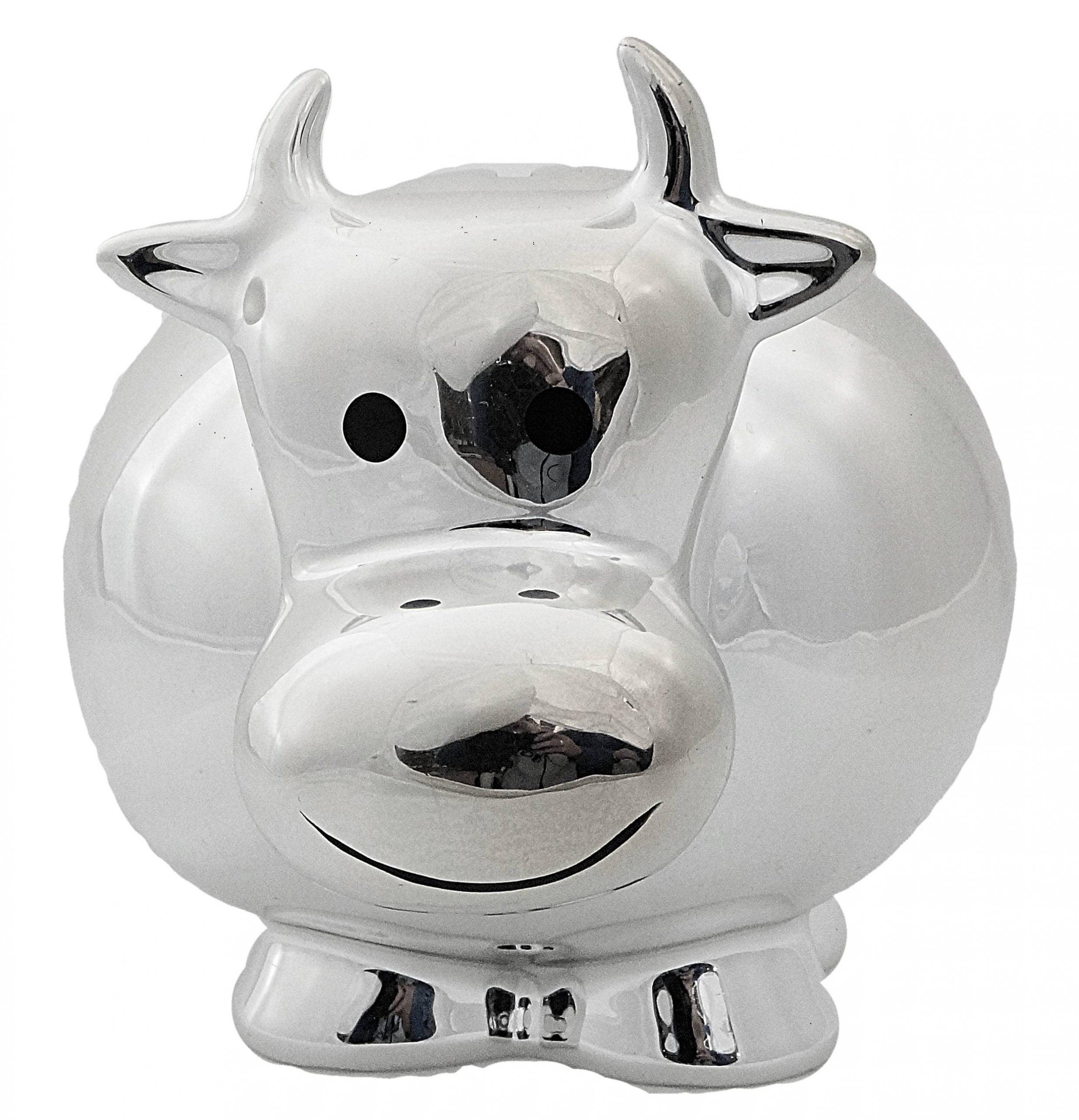 Κουμπαράς αγελαδίτσα κεραμικός, με μεταλλική εμφάνιση