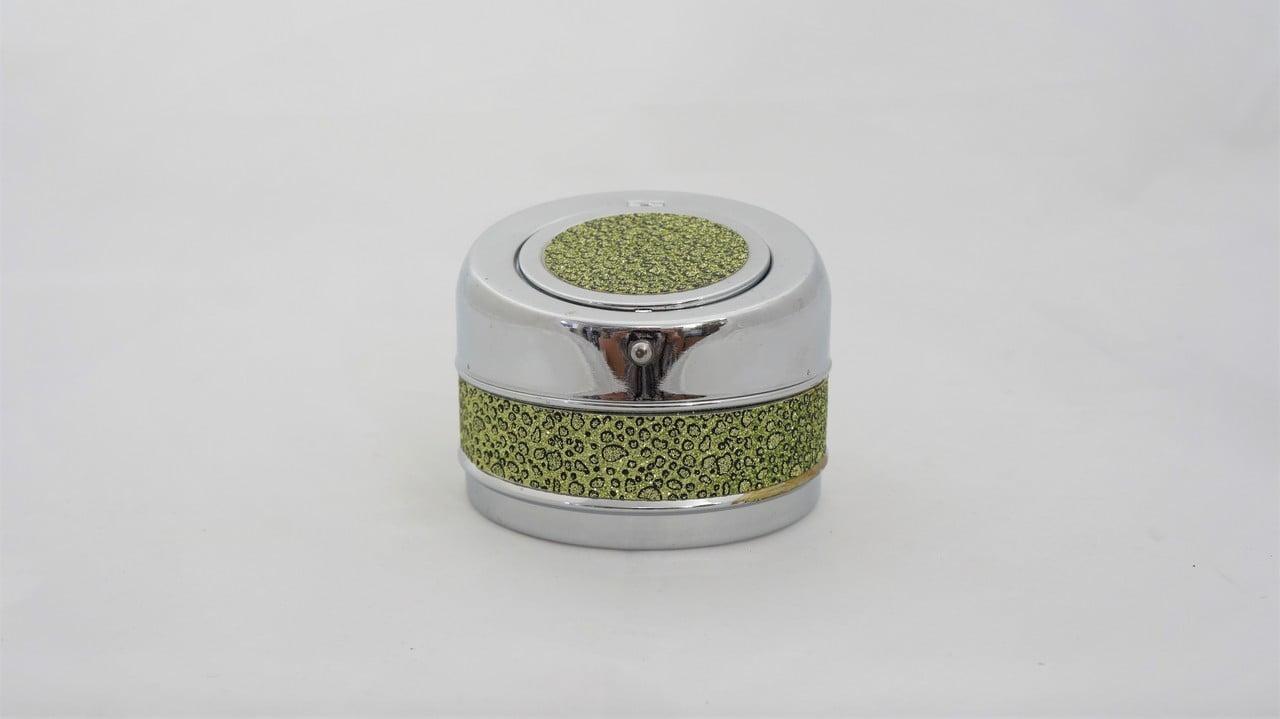 Σταχτοδοχείο μεταλλικό με μηχανισμό, πράσινη χρυσόσκονη - 1