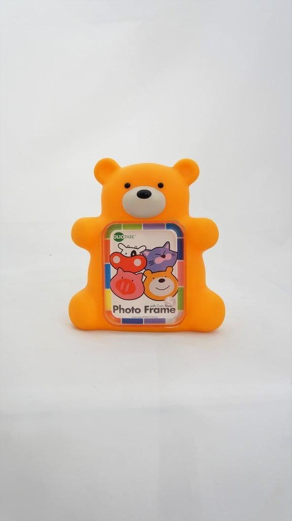 Κορνίζα, κουμπαράς πορτοκαλί αρκουδάκι - 1