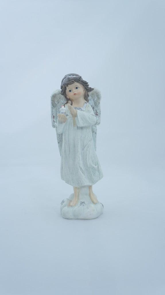 Κεραμικό αγγελάκι με ασημί φτερά, 17 εκ - 1