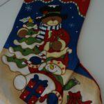 Χριστουγεννιάτικη μπότα, αρκουδάκι και χιονάνθρωπος 43εκ - 1