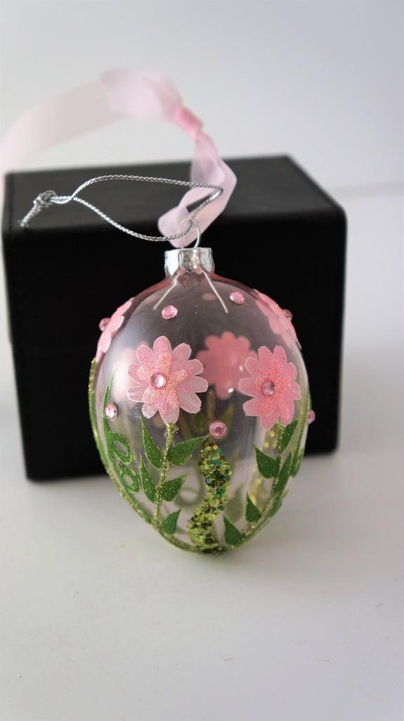 Κρεμαστό γυάλινο αυγό, λουλούδια 9εκ - 1