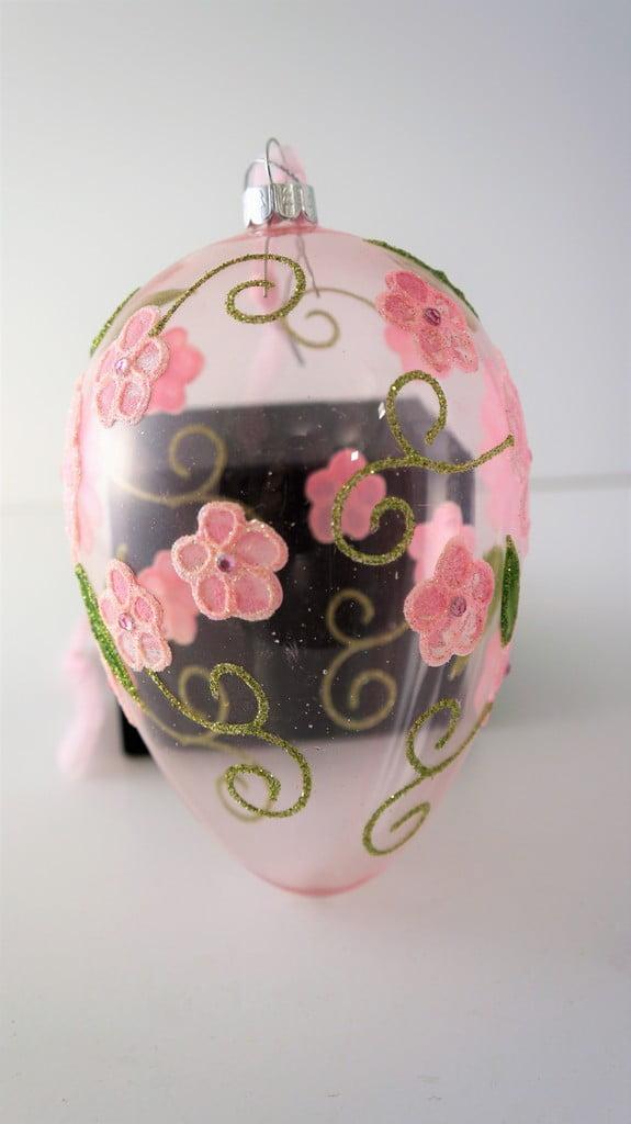 Μεγάλο κρεμαστό γυάλινο αυγό, λουλούδια 19εκ - 1